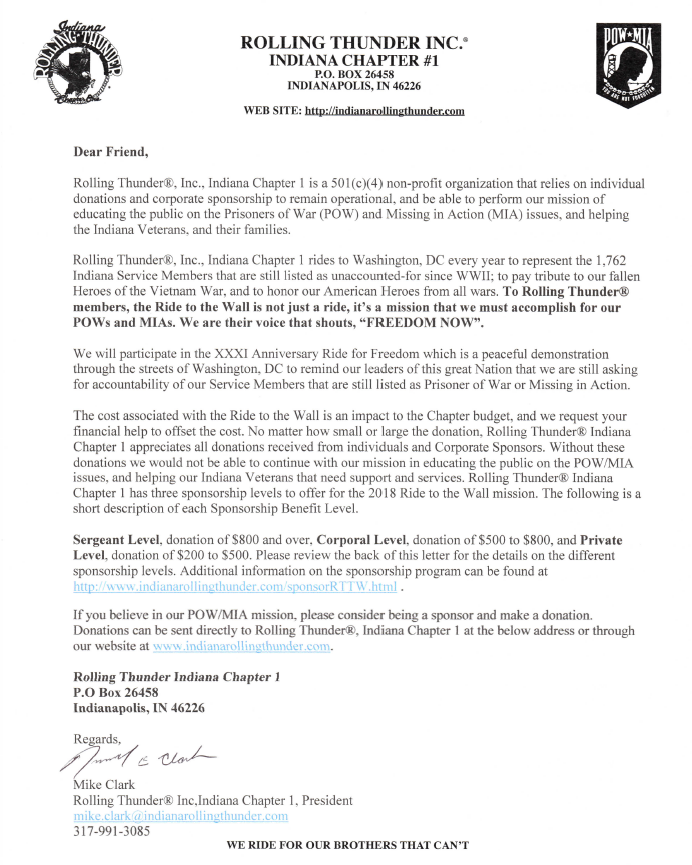 Rttw sponsorship program indiana rolling thunder inc 2018 ride to the wall sponsorship letter thecheapjerseys Choice Image